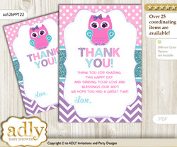 Girl  Owl Thank you Cards for a Baby Girl Shower or Birthday DIY Pink Teal, Purple
