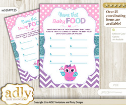 Girl Owl Guess Baby Food Game or Name That Baby Food Game for a Baby Shower, Pink Teal Purple