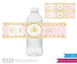Princess Royal  Royal Water Bottle Wrappers, Labels for a  Royal   Baby Shower,  Gold Pink ,  Elegant