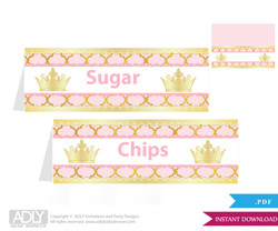 Printable  Princess Royal  Royal Buffet Tags or Food Tent Labels  for a Baby Shower or Birthday ,  Gold Pink ,  Elegant