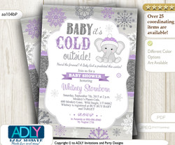 Purple, Glitter Grey Elephant Snowflake Invitation for Winter Baby Shower