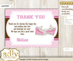 Girl Sneakers Thank you Printable Card with Name Personalization for Baby Shower or Birthday Party n