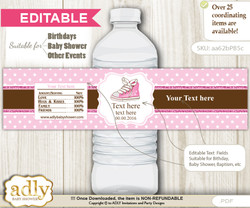 DIY Text Editable Girl Sneakers Water Bottle Label, Personalizable Wrapper Digital File, print at home for any event