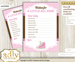 Girl Sneakers Wishes for a Baby, Well Wishes for a Little Sneakers Printable Card, STar, Pink Brown