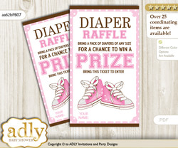 Girl Sneakers Diaper Raffle Printable Tickets for Baby Shower, Pink Brown, STar
