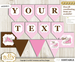 DIY Personalizable Girl Sneakers Printable Banner for Baby Shower, Pink Brown, STar
