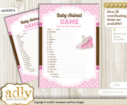 Printable Girl Sneakers Baby Animal Game, Guess Names of Baby Animals Printable for Baby Sneakers Shower, Pink Brown, STar