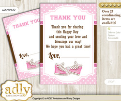 Girl  Sneakers Thank you Cards for a Baby Girl Shower or Birthday DIY Pink Brown, STar
