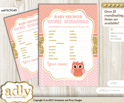 Girl Owl Word Scramble Game for Baby Shower nn
