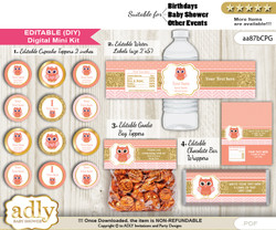 DIY Text Editable Girl Owl Baby Shower, Birthday digital package, kit-cupcake, goodie bag toppers, water labels, chocolate bar wrappers nn