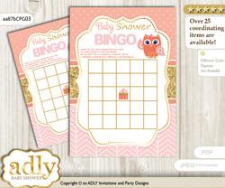 Printable Coral Pink Owl Bingo Game Printable Card for Baby Girl Shower DIY grey, Coral Pink, Gold
