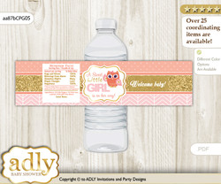 Girl Owl Water Bottle Wrappers, Labels for a Owl  Baby Shower, Coral Pink, Gold