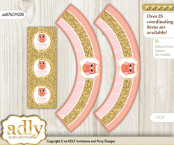Printable Girl Owl Cupcake, Muffins Wrappers plus Thank You tags for Baby Shower Coral Pink, Gold