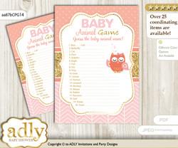 Printable Girl Owl Baby Animal Game, Guess Names of Baby Animals Printable for Baby Owl Shower, Coral Pink, Gold
