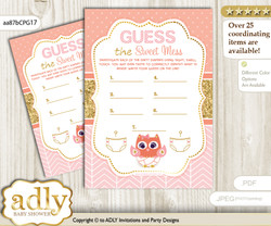 Girl Owl Dirty Diaper Game or Guess Sweet Mess Game for a Baby Shower Coral Pink, Gold