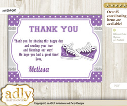 Girl Sneakers Thank you Printable Card with Name Personalization for Baby Shower or Birthday Party nn