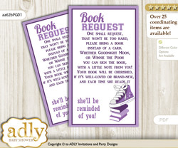 Request a Book Instead of a Card for Girl Sneakers Baby Shower or Birthday, Printable Book DIY Tickets, Sport, Purple Grey
