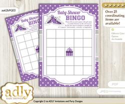 Printable Purple Grey Sneakers Bingo Game Printable Card for Baby Girl Shower DIY grey, Purple Grey, Sport