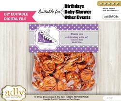 DIY Text Editable Girl Sneakers Goodie  Treat Bag Toppers, Favor Bag Digital File, print at home  nn