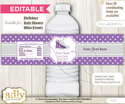 DIY Text Editable Girl Sneakers Water Bottle Label, Personalizable Wrapper Digital File, print at home for any event  nn