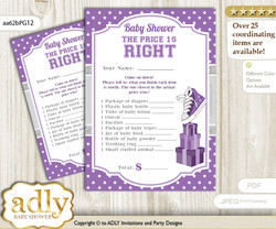 Printable Girl Sneakers Price is Right Game Card for Baby Sneakers Shower, Purple Grey, Sport