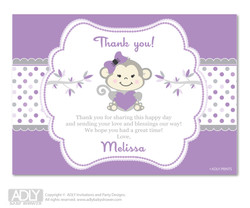 Girl  Monkey  Thank you Printable Card with Name Personalization for Baby Shower or Birthday Party