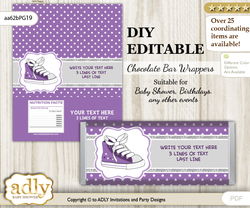 DIY Personalizable Girl Sneakers Chocolate Bar Candy Wrapper Label for Girl  baby shower, birthday Purple Grey , editable wrappers