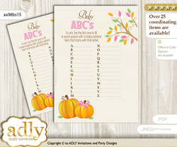 Girl Pumpkin Baby ABC's Game, guess Animals Printable Card for Baby Pumpkin Shower DIY – Fall
