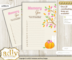 Girl Pumpkin Memory Game Card for Baby Shower, Printable Guess Card, Lime Pink, Fall