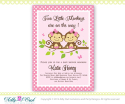 Pink, Brown, Green Twin Monkeys baby shower invitation with 2 girl monkeys