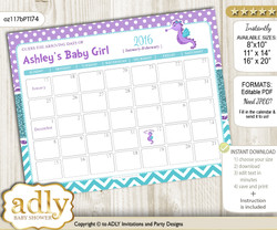 DIY Girl Seahorse Baby Due Date Calendar, guess baby arrival date game