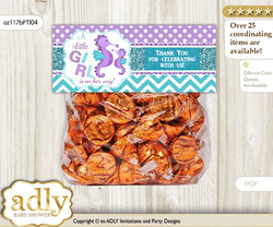 Printable Girl Seahorse Treat or Goodie bag Toppers for Baby Girl Shower or Birthday DIY Purple Teal, Summer