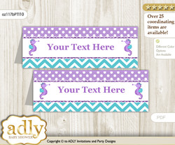 DIY Text Editable Printable Girl Seahorse Buffet Tags or Food Tent Labels  for a Baby Shower or Birthday , Purple Teal, Summer