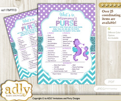 Girl Seahorse What is in Mommy's Purse, Baby Shower Purse Game Printable Card , Purple Teal,  Summer