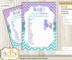 Printable Girl Seahorse Baby Animal Game, Guess Names of Baby Animals Printable for Baby Seahorse Shower, Purple Teal, Summer