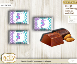 Girl Seahorse Chocolate Nuggets Candy Wrapper Label for Baby Girl Shower  Purple Teal , Summer