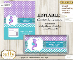 DIY Personalizable Girl Seahorse Chocolate Bar Candy Wrapper Label for Girl  baby shower, birthday Purple Teal , editable wrappers