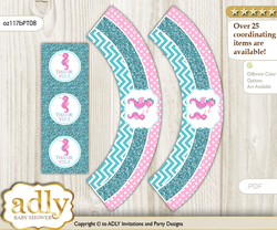 Printable Girl Seahorse Cupcake, Muffins Wrappers plus Thank You tags for Baby Shower Pink teal, Glitter