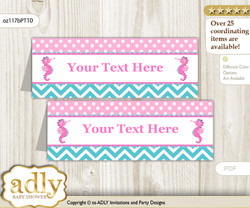 DIY Text Editable Printable Girl Seahorse Buffet Tags or Food Tent Labels  for a Baby Shower or Birthday , Pink teal, Glitter