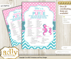 Girl Seahorse What is in Mommy's Purse, Baby Shower Purse Game Printable Card , Pink teal,  Glitter