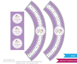 Printable  Girl  Monkey Cupcake, Muffins Wrappers plus Thank You tags for Baby Shower  Grey,  Purple