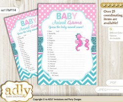Printable Girl Seahorse Baby Animal Game, Guess Names of Baby Animals Printable for Baby Seahorse Shower, Pink teal, Glitter
