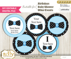DIY Editable Boy Bow tie Cupcake Toppers Digital File, print at home favor tags birthday, baby shower, baptism Dots - aa86bsB0ac