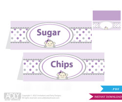 Printable  Girl  Monkey Buffet Tags or Food Tent Labels  for a Baby Shower or Birthday ,  Grey,  Purple