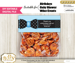 DIY Editable Boy Bow tie Goodie, Treat Bag Toppers Digital File, print at home for birthday, baby shower, baptism Dots - aa86bsB4c