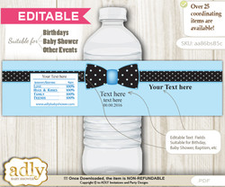 DIY Editable Boy Bow tie Water Bottle Wrapper, Label Digital File, print at home for birthday, baby shower, baptism Dots - aa86bsB5c