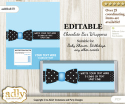DIY Personalizable Boy Bow tie  Chocolate Bar Wrapper Printable Digital Label for baby shower, birthday, editable Blue Black , Dots - aa86bsB19c