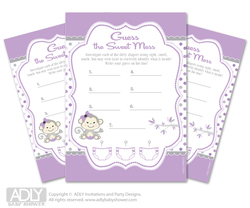 Girl  Monkey Dirty Diaper Game or Guess Sweet Mess Game for a Baby Shower  Grey,  Purple