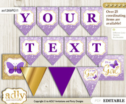 DIY Personalizable Girl Butterfly Printable Banner for Baby Shower, Purple Gold, Kisses
