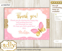 Kisses Butterfly Thank you Printable Card with Name Personalization for Baby Shower or Birthday Party